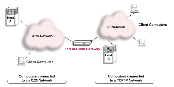 Diagram showing IP and X.25 Networks interconnecting using a FarLinX Mini Gateway