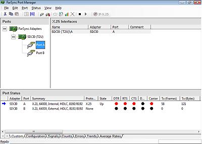 Port Manager Configuration of a FarSync X.25 T2U