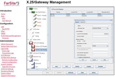 Gateway example configuration screen